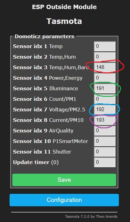 Configure Domoticz setting in Tasmota for SDS011 and other sensor to be sent accordingly.