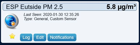 Domoticz PM 2.5 virtual sensor displaying data from SDS011