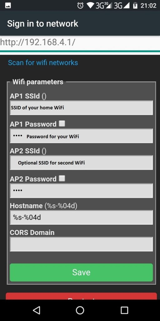 Configure Tasmota to connect to WiFi